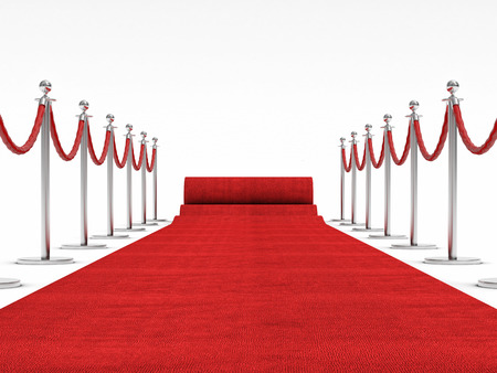 red and white: 3d image of red carpet on white