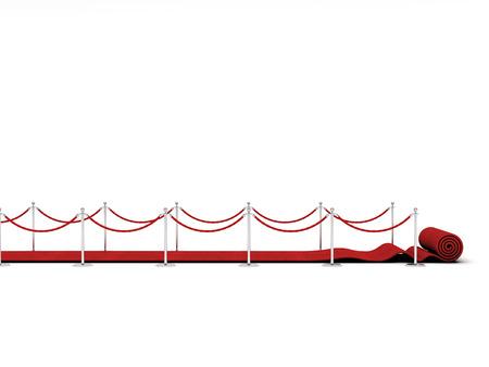 red carpet and barrier rope on white Zdjęcie Seryjne