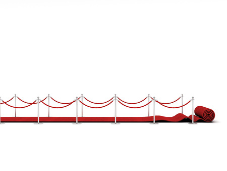 red carpet and barrier rope on white Banque d'images