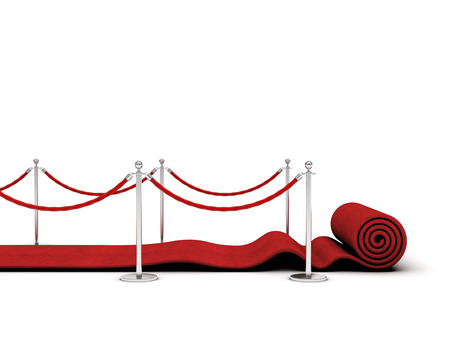 red carpet and barrier rope on white Foto de archivo