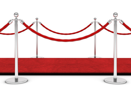 red carpet and barrier rope on white Stock Photo