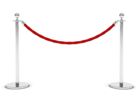 red carpet and barrier rope on white Reklamní fotografie