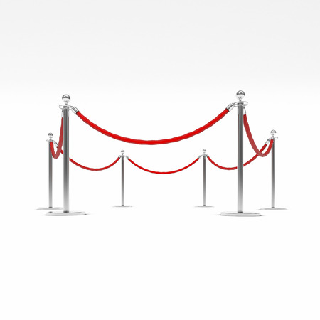 barrier rope: Barrier rope on white background Stock Photo