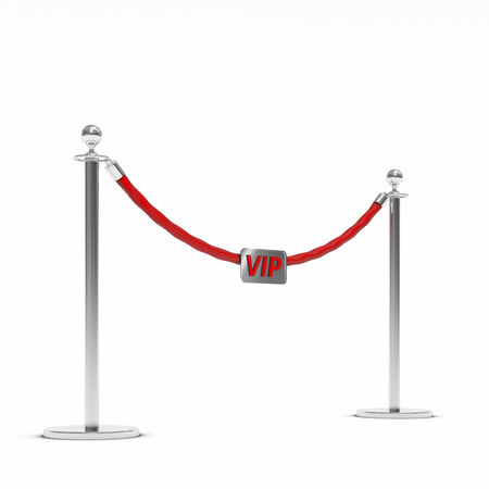 barrier rope: vip Barrier rope on white background Stock Photo