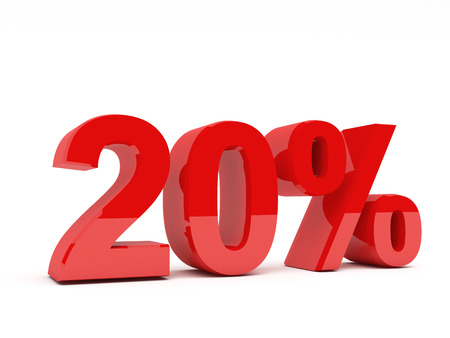 20 30: 3d red text of discount sale on white
