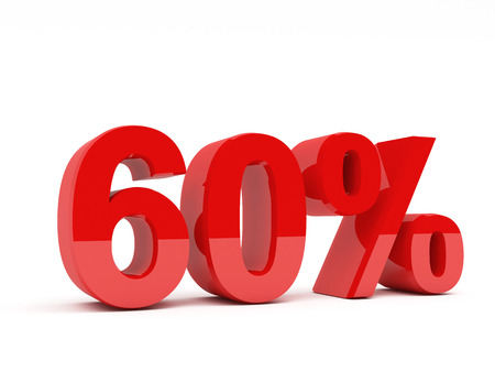 50 to 60: 3d red text of discount sale on white