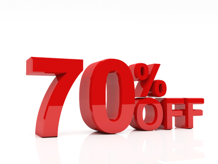 3d red text of discount sale on white photo