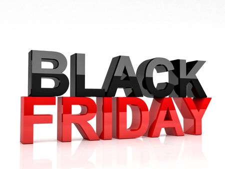 black and white image: 3d image of black friday text on white background