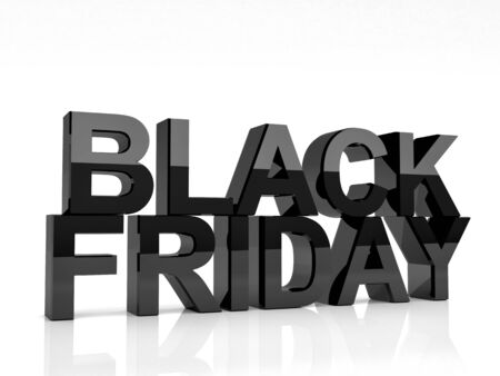 3d image of black friday text on white background photo