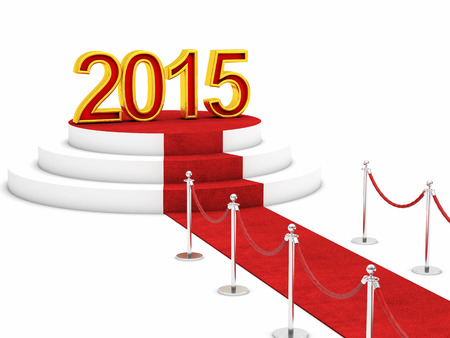 newyears: golden 2015 and red carpet Stock Photo