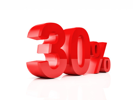 30 40: 3d red text of discount sale on white