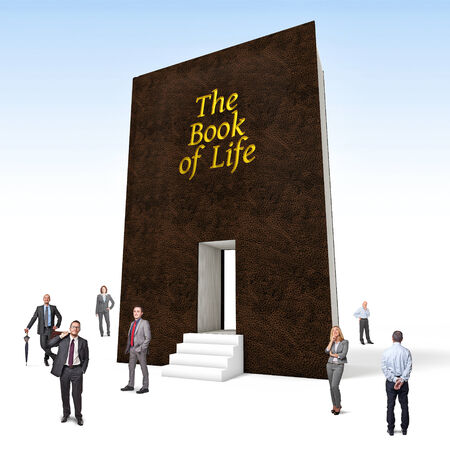 business people and huge 3d book of life photo