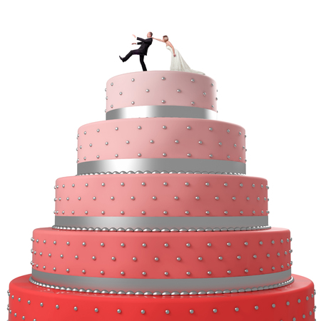 gradual: wedding cake with funny caketopper