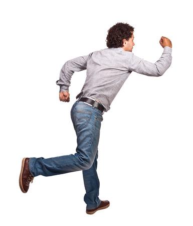 haste: running man isolated on white background Stock Photo