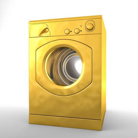 3d image of golden washing machine photo