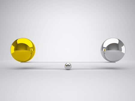 chorme: gold and silver in false balance Stock Photo