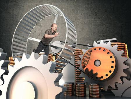 slave: man run in hamster wheel to produce energy