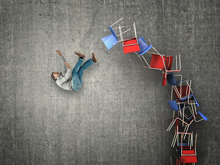 proble: man fall from chair pile