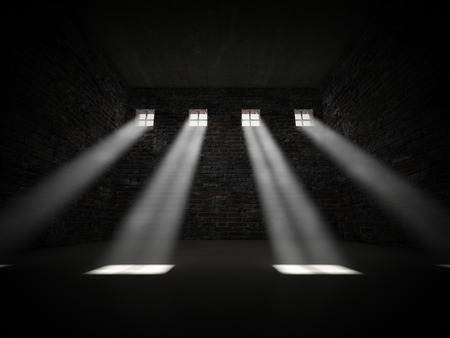 prison bars: 3d image of dark jail and bright window