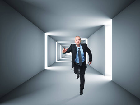 interior room: 3d image of abstract tunnel and running man Stock Photo