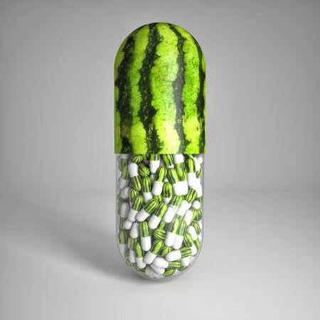painkiller: 3d image of huge vitamin watemelon pills