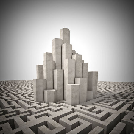 3d image of tall tower and maze photo