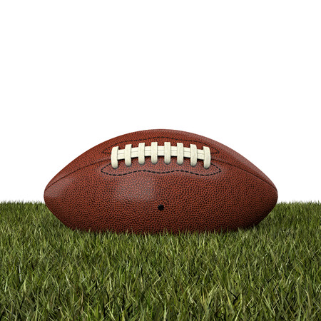 terrain foot: american football balle sur l'herbe Banque d'images