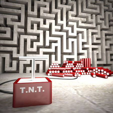 3d image of maze and tnt photo