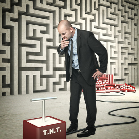 tnt: businessman tnt and abstract wall maze