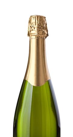 Champagne fles geïsoleerd op witte achtergrond