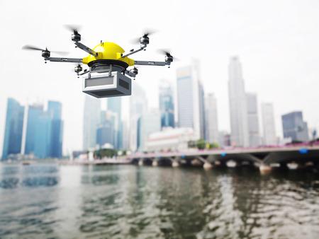 future: 3d image of futuristic delivery drone