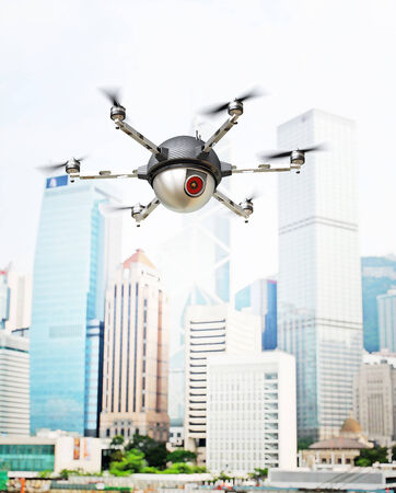 spy camera: 3d image of futuristic spy camera drone Stock Photo