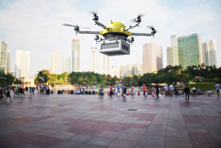 3d image of futuristic delivery drone Stok Fotoğraf - 35391724