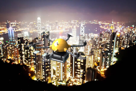 3d image of futuristic delivery drone and night landscape