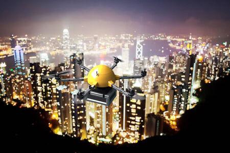 urbanscape: 3d image of futuristic delivery drone and night landscape