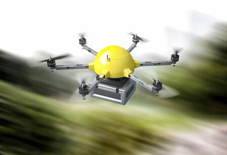 Immagine 3D di drone consegna futuristico Archivio Fotografico - 35391975