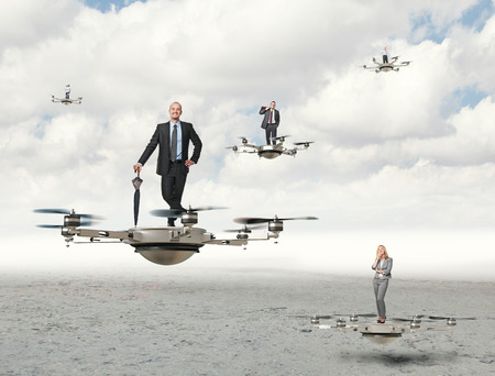 3d image of futuristic drone and business people