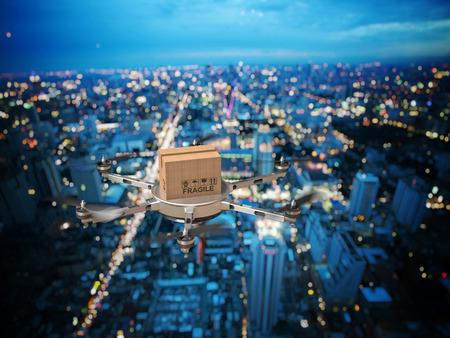 未来の配達のドローン夜景の 3 d イメージ