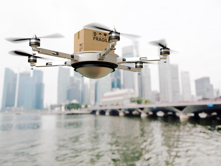 delivery service: 3d image of futuristic delivery drone