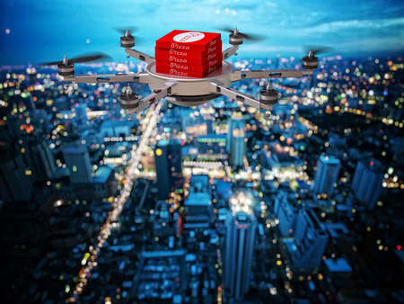 3d image of futuristic pizza delivery drone
