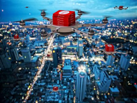 3d image of futuristic pizza delivery drone