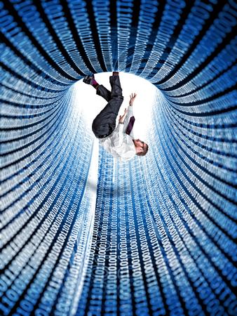 hombre cayendo: 3d abstracto Tunnell con c�digo binario y que entren hombre