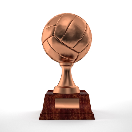 Volley: brass volley trophy on white Stock Photo
