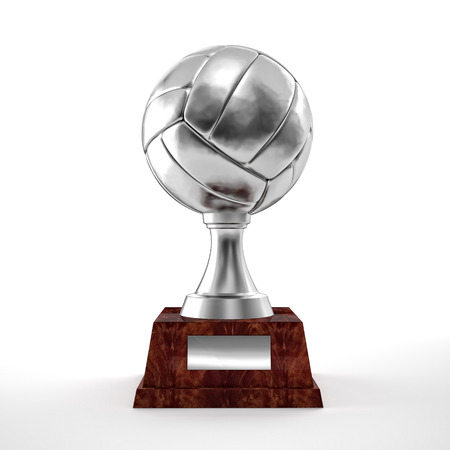 Volley: silver volley trophy ball on white
