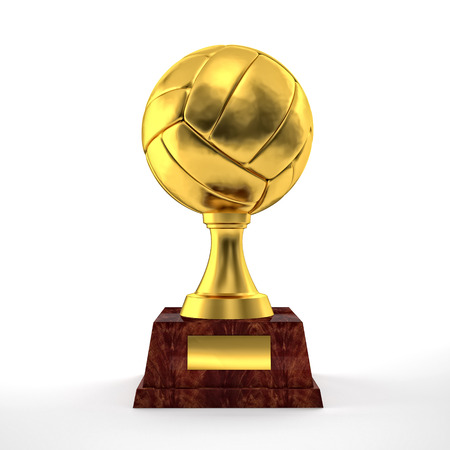 Volley: golden volley trophy on white