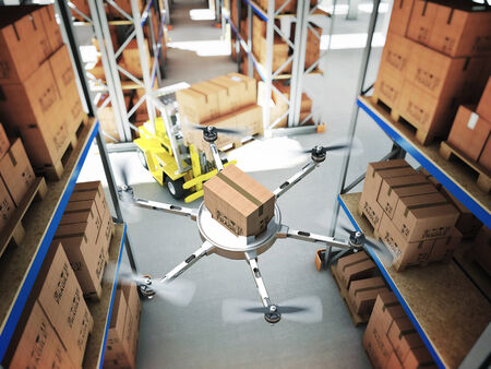 warehouse: drone work in classic warehouse 3d image Stock Photo