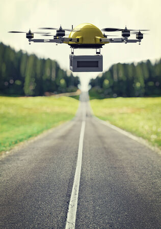 background box: flying drone and lonely road