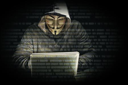 portret van de hacker en binaire code Stockfoto