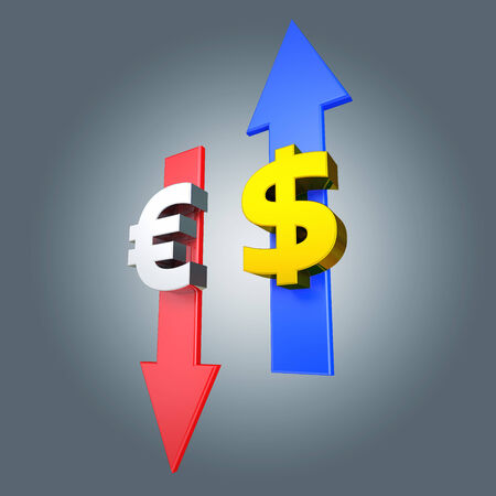 grow money: euro and dollar symbol with arrows Stock Photo