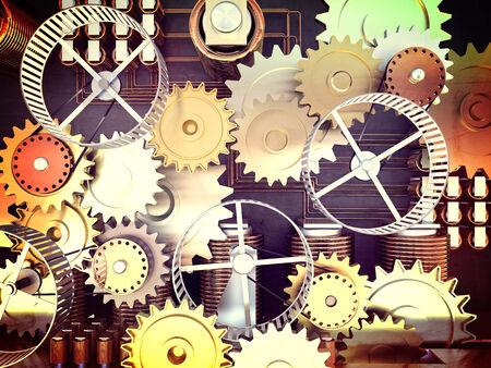 spirale: 3d Maschine mit Metallgetriebe und Hamster wheele Lizenzfreie Bilder